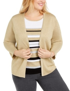 Alfred Dunner Plus Size Classics Layered-Look Metallic Sweater
