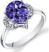 Ice 3 CT TW Simulated Alexandrite 14K White Gold Fashion Ring with Diamond Accents