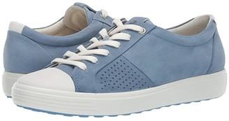 Ecco Soft 7 Cap Toe (White/Retro Blue Cow Leather/Cow Nubuck) Women's Lace up casual Shoes