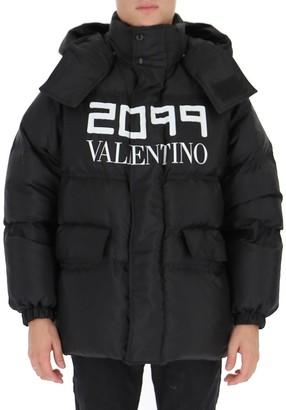 Valentino Logo Printed Oversize Down Jacket