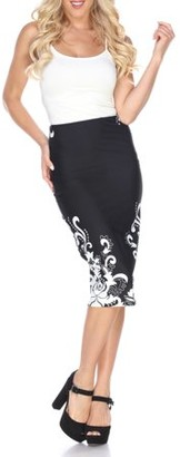 White Mark Women's Floral Paisley Pencil Midi Skirt