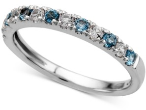 Macy's Blue Topaz (1/4 ct. t.w.) and Diamond (1/5 ct. t.w.) Ring in 14k White Gold