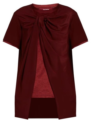 Sies Marjan Twisted-front Silk-crepe And Satin Top - Burgundy