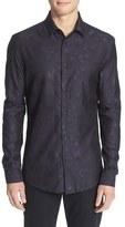 Versace Men's Trim Fit Star Jacquard Shirt