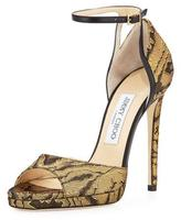 Jimmy Choo Pearl Moire Ankle-Wrap 120mm Sandal, Gold/Black