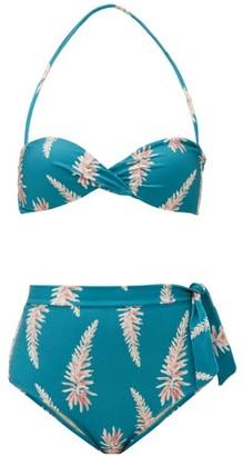 Adriana Degreas Aloe-print Halterneck High-rise Bikini - Blue Print