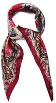 Etro Paisley and horse-print silk scarf