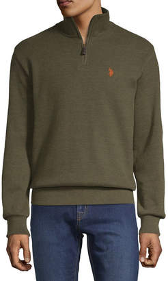 U.S. Polo Assn. Uspa Mens Mock Neck Long Sleeve Quarter-Zip Pullover