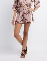 Charlotte Russe Floral Crochet-Inset Shorts