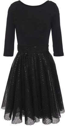 Maje Sequin-embellished Crochet And Stretch-knit Mini Dress