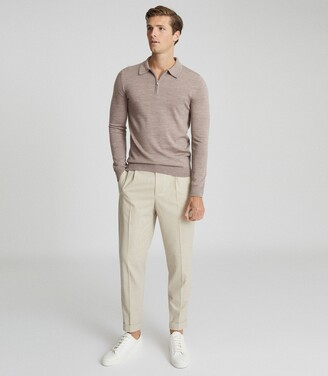 Reiss Robertson - Merino Wool Zip Neck Polo Shirt in Taupe