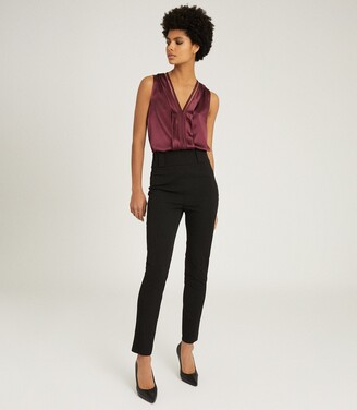 Reiss Millie - Seam Detail Tailored Trousers in Black
