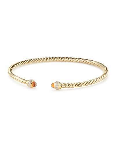 David Yurman 18k Gold CableSpira® Bracelet w/ Madeira Citrine, Size M