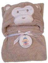 """bozemanbabycompany Plush Baby Blanket for Boy or Girl. Super-Soft Microfiber Fleece in Animal Designs. Fab Baby Gifts! Soft Enough for Swaddle/Receiving Wrap, Sturdy Enough for Years of Toddler Cuddles. 30""""x36"""" + Hood"""