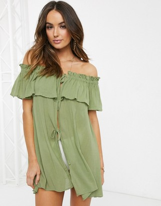 Asos DESIGN frill layered beach cover up in khaki
