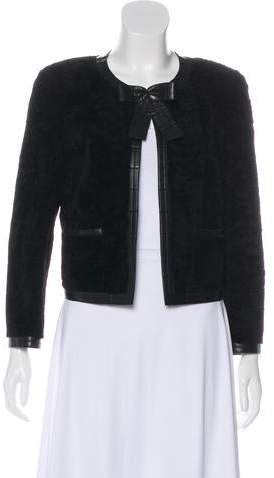Chanel Leather-Trimmed Shearling Jacket