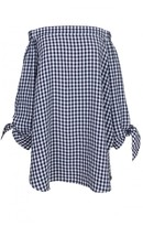 Tibi Gingham Off-the-Shoulder Tunic