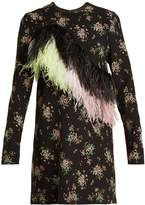 MSGM Feather-embellished floral-print crepe dress