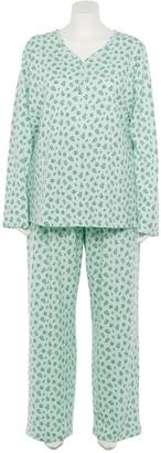 Croft & Barrow Plus Size Knit Long Sleeve Pajama Shirt & Pajama Pants Set