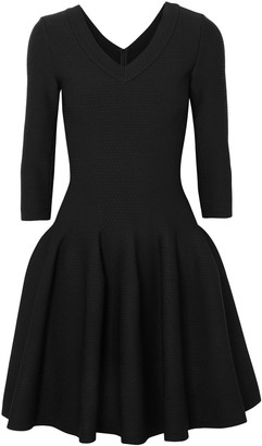 Alaia Flared Textured Stretch-knit Mini Dress