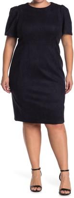 Calvin Klein Faux Suede Short Sleeve Sheath Dress