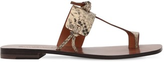 Zimmermann 10mm Knotted Snake Print Leather Flats