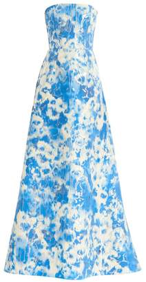 Carolina Herrera Tie Dye Metallic Strapless Stretch-Silk A-Line Gown