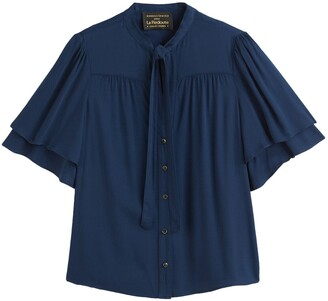 Vanessa Seward X La Redoute Collections Pussy Bow Shirt with Ruffled Short Sleeves