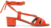 Tabitha Simmons Belen Lace-up Suede Sandals - Tomato red