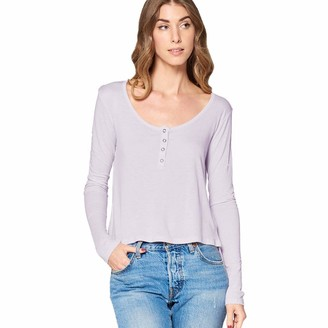 Tresics Women's Trendy Basic Junior Long Sleeve Henley Neck Cropped Loose Fit Top