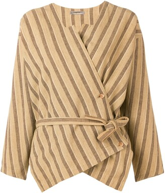 Issey Miyake Pre Owned Striped Wrap Blouse