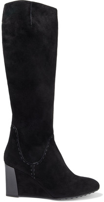Tod's Suede Wedge Knee Boots