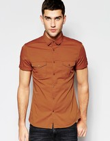 Asos Skinny Military Shirt In Rust With Short Sleeves
