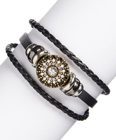 Glass & Black Leather Bracelet Ferris-Wheel Bracelet