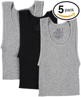 Fruit of the Loom 5Pack Boys Black-Grey A-Shirts Tank Top Tanks Undershirts S
