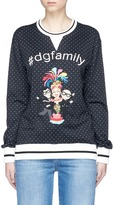 Dolce & Gabbana family appliqué polka dot cotton sweatshirt