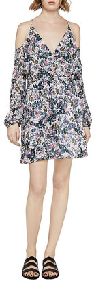 BCBGeneration Sunprint Floral Cold-Shoulder Dress