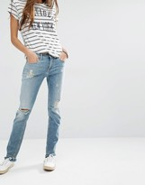 Tommy Hilfiger Naomi Destroyed Straight Jeans With Raw Hem