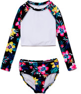 Kanu Surf Girls' Bikini Bottoms Black - Black Hibiscus Brooke Long-Sleeve Crop Rashguard Set - Toddler & Girls