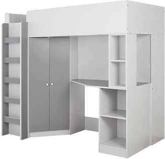 Miami Fresh High Sleeper Bed with Desk, Wardrobe and Shelves - Grey