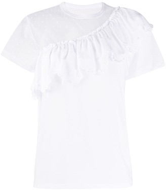 RED Valentino ruffled panelled T-shirt