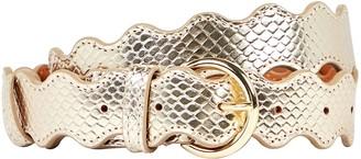 Loeffler Randall Blythe Snake-Embossed Leather Belt
