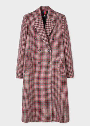 Paul Smith Women's Dusky Pink Houndstooth Wool Double-Breasted Coat