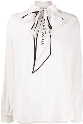 Givenchy Logo Scarf Silk Blouse