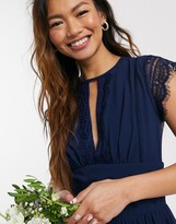 Thumbnail for your product : TFNC bridesmaid lace detail mini bridesmaid dress in navy