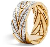 John Hardy 18K Yellow Gold Modern Chain Band Ring with Diamonds