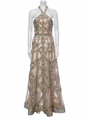 Elie Saab Embellished Flared Gown Tan