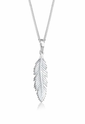 Elli Necklace Women Feather Pendant Boho 925 Sterling Silver
