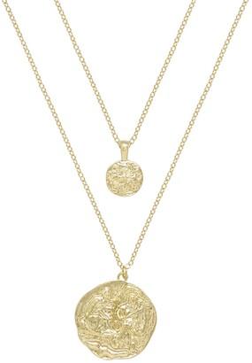 Ettika Gold Tone Double Coin Necklace Set
