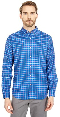 Nautica Plaid Oxford Shirt (Pewter Grey) Men's Short Sleeve Button Up